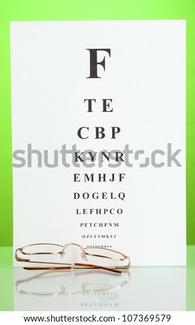 Eyesight test chart with glasses on green background close-up - stock photo