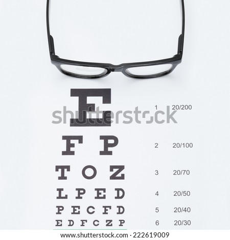 Eyesight test chart with glasses - studio shot - 1 to 1 ratio - stock photo
