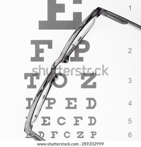 Eyesight test table and glasses - close up - stock photo
