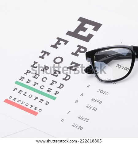 Eyesight test table with glasses over it - studio shot - 1 to 1 ratio - stock photo