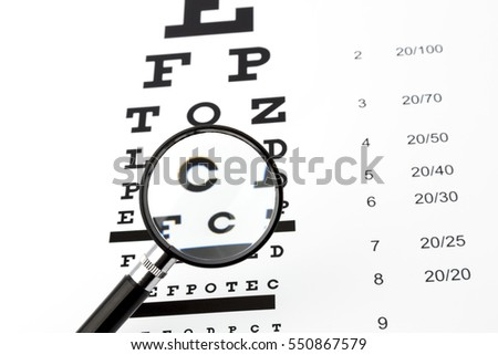 eyesight test with black small magnifier snellen chart