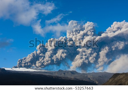 Eyjafjallajokull in Iceland erupting, ash plume being ejected into the athmosphere and the resulting ash fall - stock photo