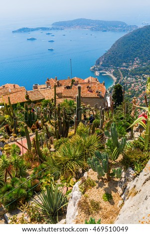 Eze, France - August 04, 2016: view from the exotique garden in Eze on the coast of the Cote dAzur, with unidentified people. Eze is famous worldwide for the view of the sea from hill top