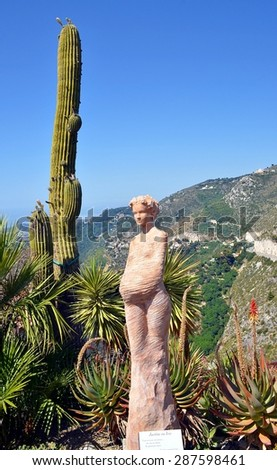 Eze, France - JUNE 10: Eze, renowned tourist site on the French Riviera, near Nice, is famous worldwide for the view of the sea from its hill top and its women' statues. - June 10, 2014 - stock photo