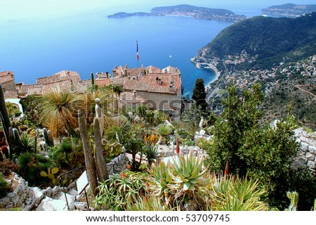 Eze, renowned tourist site on the French Riviera, is famous worldwide for the view of the sea from its hill top.cliff - stock photo