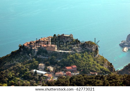 Eze village French riviera's medieval village of Eze. This famous village is between Nice and Monaco. - stock photo