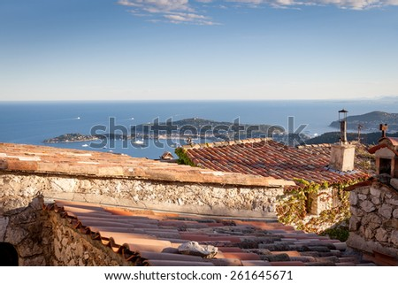 Eze Village - one of the most beautiful views of the coast of the Cote d'Azur - stock photo