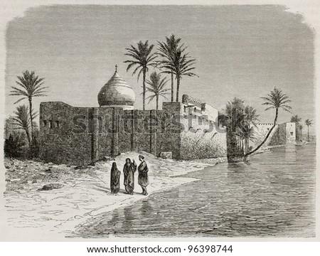 Ezra's tomb old view, Iraq. Created by De Bar after Lejean, published on Le Tour du Monde, Paris, 1867 - stock photo
