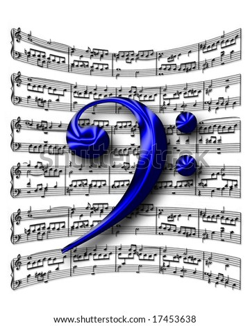 F-clef on music sheet background - stock photo