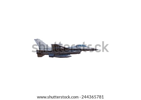 f16 falcon fighter jet on white background - stock photo