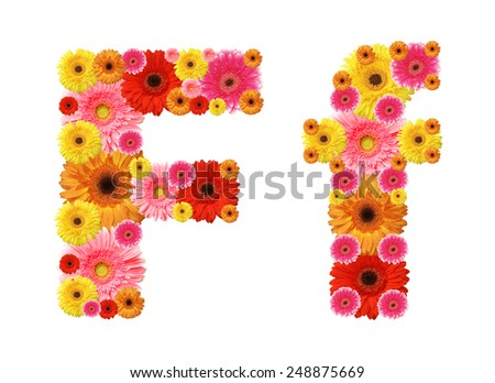 f, flower alphabet - stock photo