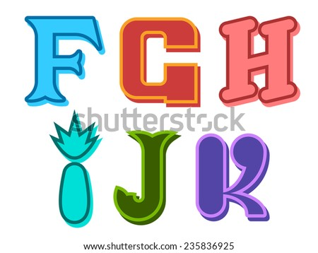 F, G, H, I, J, K funky cute alphabet letters in different colors with different shapes for kids, education, decorative text and scrapbooking, design element - stock photo