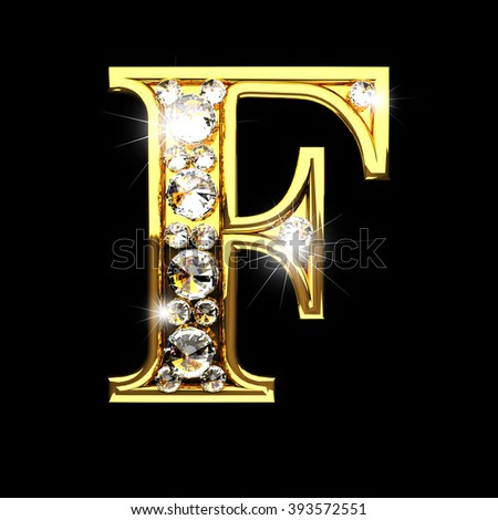 f isolated golden letters with diamonds on black