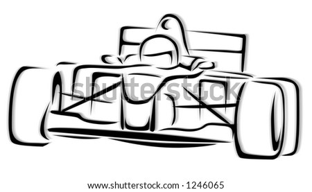F1 Racing Car Illustration