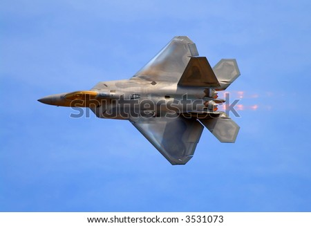 F-22 Raptor fighter jet at airshow - stock photo
