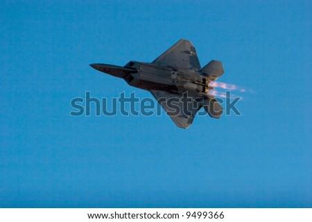 F-22 Raptor jet airplane during airshow - stock photo