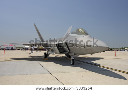 F-22 Raptor On The Ground, Oblique View - stock photo