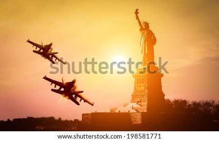 f-18 squadron flying in new york for july 4 celebration - stock photo