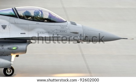 F-16 taxiing - stock photo