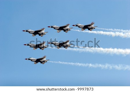 F-16 Thunderbird jets flying in formation - stock photo