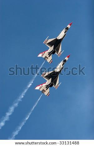 F16 thunderbirds at the airshow - stock photo