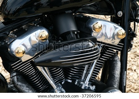FAAKER SEE, AUSTRIA - SEPTEMBER 11: A detail of a custom motorcycle is shown at European Bike Week on September 11, 2009 in Faaker See, Austria. The event is billed as the largest European motorcycle event. - stock photo