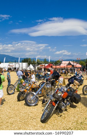 FAAKER SEE , AUSTRIA - 5 september: 2008 European Bike Week 10th anniversary. The largest Europe Motorcycles event for Harley Davidson and Custom bikes. - stock photo
