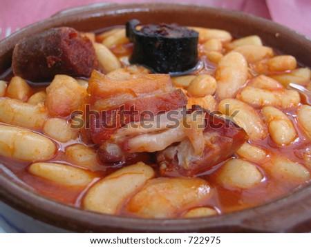 Fabada.Custom food,Asturias,Spain. - stock photo
