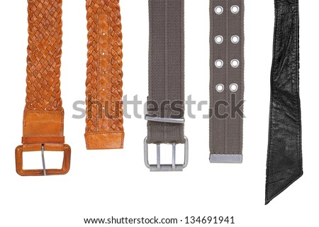 Fabric and leather straps on a white background. Fashion, accessories - stock photo