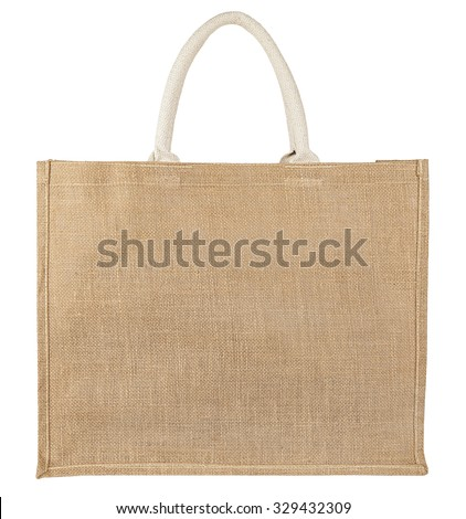 Fabric bag isolated on white background - stock photo