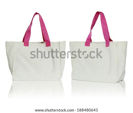 fabric bag on white background - stock photo