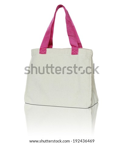 fabric bag on white background - stock photo