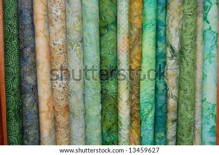Fabric bolts - green batik prints
