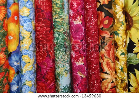Fabric bolts - large scale floral prints - stock photo