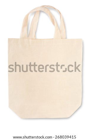 Fabric canvas bag with soft shadow on white, clipping path included