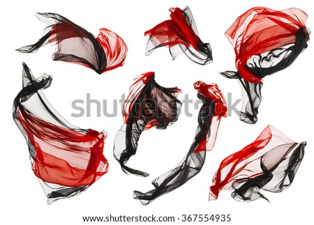 Fabric Cloth Flow and Waves, Folded Satin Fly Red Black on White background - stock photo