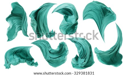 Fabric Cloth Flowing on Wind, Textile Wave Flying In Motion, Isolated over White background