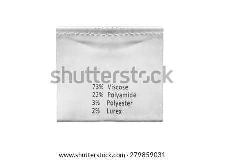 Fabric composition label isolated over white - stock photo