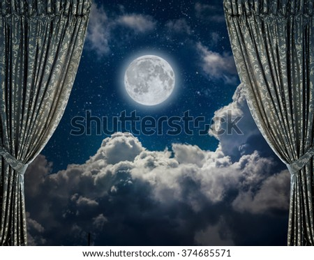 fabric curtains on a nigt sky background. Elements of this image furnished by NASA - stock photo