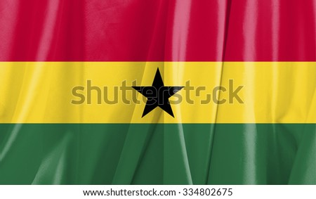 Fabric Flag of Ghana - stock photo