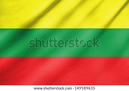 Fabric Flag of Lithuania - stock photo