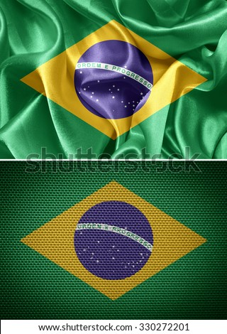 fabric flags brazil - stock photo