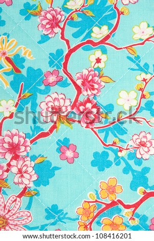fabric flower pattern, textile background - stock photo
