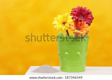 fabric flowers potted colors - stock photo
