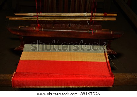 fabric from old weaving machines - stock photo