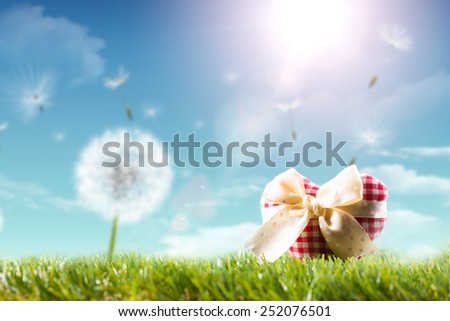 fabric heart in a spring scene - stock photo