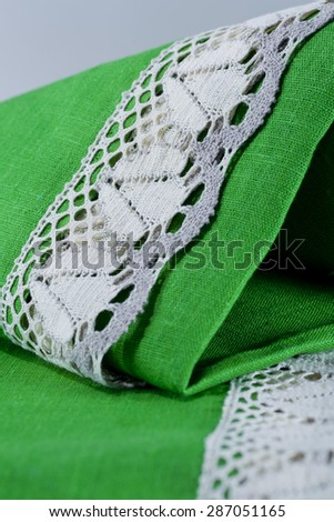 fabric linen product with patterns and lace