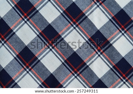 Fabric plaid texture, blue, red and white  - stock photo