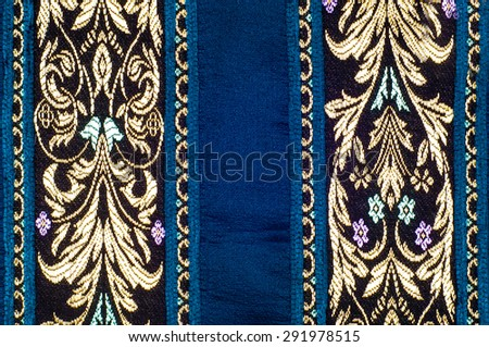 fabric silk texture with gold pattern - stock photo