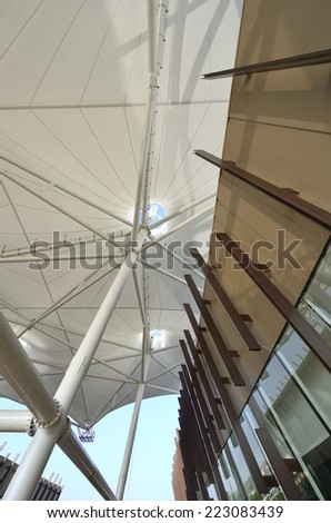fabric tensile roof structure - stock photo